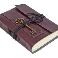 Burgundy Vegan Faux Leather Journal with Key Bookmark