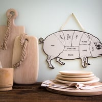 Decorative PIG  for your kitchen Meat cutting chart useful wall decoration