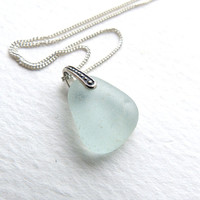 Handmade Sea Glass Necklace on Sterling Silver