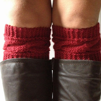 Hollyberry Boot Cuffs Cable Knit Red Boot Liners Toppers