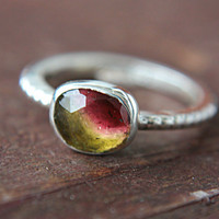 Watermelon Tourmaline Ring Sterling Silver Natural Rose Cut Tourmaline Pink Gemstone Engagement Ring Size 8,5 Silversmithed Metalsmithed