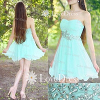 Light Blue Strapless Short Prom Dress, Homecoming Dress, Cocktail Dress 2013,Party Dress