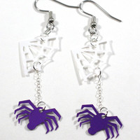 Halloween Earrings Purple Spiders White Webs Sequin Earrings