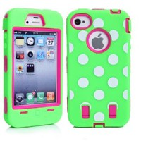 MagicSky Plastic Silicone Hybrid Colorful Polka Dot Paint Case for Apple iPhone 4 4S 4G - 1 Pack - Retail Packaging - Hot Pink/Green