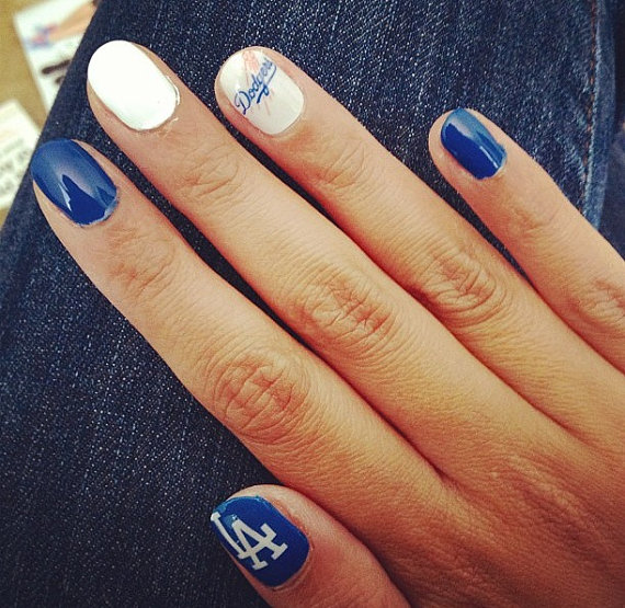 I LOVE LA Dodgers Blue And White Nail From Chachacovers On