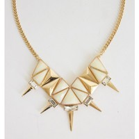 White Geometric Spiked Necklace