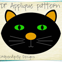Black Cat Applique Pattern - Halloween Applique Template / Cute Halloween Wall Hanging / Children Black Cat Shirt / Cat Qult Pattern AP309-D