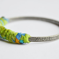 Lime green fabric bangle The Knot by RedRhinoProductions on Etsy