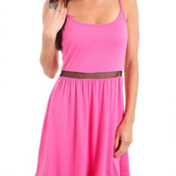 Pink Spaghetti Strap Flare Dress with Sheer Mesh Waist
