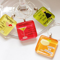 Funny Wine Glass Charms by KellysMagnets