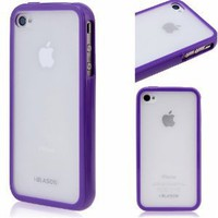 i-Blason Apple iPhone 4 4S 16GB 32GB TPU Transparent Gel Silicone Skin Case Cover + Free Screen Protector (Many Colors Available) (Purple)