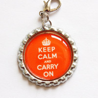 Keep Calm & Carry On zipper pull by KellysMagnets