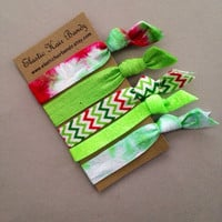 The Erin Holiday Hair Tie-Ponytail Holder Collection - 5 Elastic Hair Ties by Elastic Hair Bandz on Etsy
