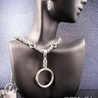"The ""Fourplay"" Locking Steel Collar  - 4 Styles in One Collar with Earrings"