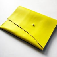 Supermarket: iPad case - Lemon yellow leather from scabbyrobot