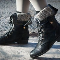 RESTOCKED! Bumper Freda-17 Military Lace Up Fold Over Boot (Black) - Shoes 4 U Las Vegas