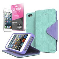 Cellto iPhone 5 / 5S Case Wallet Flip Type with HD Screen Protector [Slim Fit...