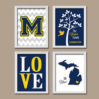 University of Michigan Wolverine Blue Yellow College Custom Family Monogram State LOVE Bird Tree Wedding Date Set of 4 Prints WALL Decor ART