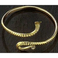 Gold Tone Upper Arm Bracelet Cobra#JP057