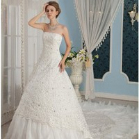 Charming Strapless A-line Cathedral Train Lace Wedding Dress