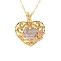 "10k Gold Two-Tone Polished Diamond Cut Swirl Heart With ""MOM"" Pendant, 18"""