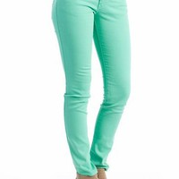 color skinny jeans &amp;#36;27.60 in LTTURQUOISE MINT ORANGE WHITE - New Shoes | GoJane.com