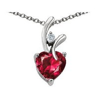 Original Star K(tm) Lab Created Heart Shaped 8mm Ruby Pendant in .925 Sterling Silver