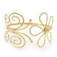 Gold Plated 'Butterfly & Flower' Upper Arm Bracelet Armlet - Adjustable