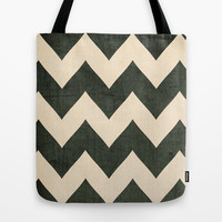 Vintage Vinyl - Black Chevron Halloween Candy Tote Bag by CMcDonald
