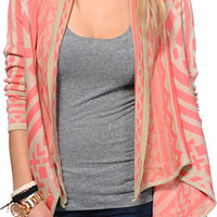 Empyre Girls Sherbet &Taupe Tribal Print Wrap Sweater at Zumiez : PDP