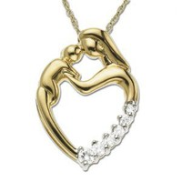 10k Yellow Gold Mother and Child Heart-Shaped Diamond Pendant (1/8 cttw, J Color, I2 Clarity)
