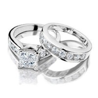 Princess Cut Diamond Engagement Ring and Wedding Band Set 1 Carat (ctw) in 14K White Gold, Size 5
