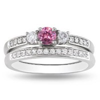 14K White Gold Pink and White Diamond Bridal Set Ring ( 1/2 cttw, G-H Color, I1-I2 Clarity), Size 6