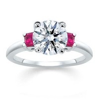 3.51 ct Round Diamond W Princess Pink Sapphire Ring 18K