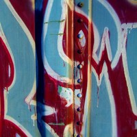 Train Tag 16 Macro Street Art Photography Red White Blue Patriotic Abstract by OneUglyUnicorn