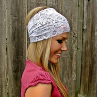 Wide Stretch Lace Headband in White by HillNTrees on Etsy