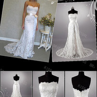 Amazing Trumpet/Mermaid Floor-length Court Strapless Lace Wedding Dresses