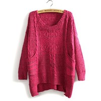 Christmas Two Pockets Design Kniting Long Sleeve Casual Sweater For Women