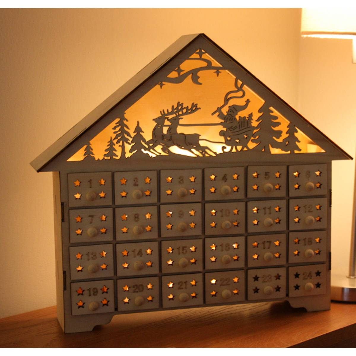 Buy Natural Wood Fretwork Light Up House from Gifted Penguin