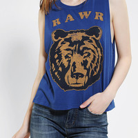 Feather Hearts Rawr Bear Muscle Tee - Urban Outfitters