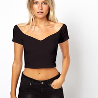ASOS Crop Top with Sweetheart Neck and Off Shoulder