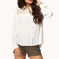 Embroidered Lace Paneled Shirt | FOREVER 21 - 2024522226