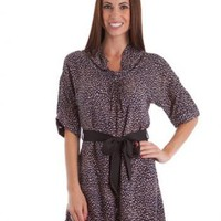 Brown & Black Animal Print Dress with Ribbon Waist Tie