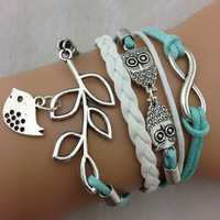 infinity hearts bracelet owl bracelet with soft ropes women jewelry bracelet bangle friendship gift  T066
