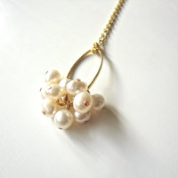 Pearl Cluster Necklace on Gold Chain  Dainty by ASimpleKindOfFancy