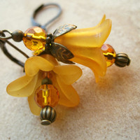 Tangerine Stargazer Lily Earrings by PiggleAndPop