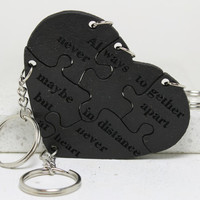 Leather Heart Puzzle Key chains Set of 5 Always Together Never Apart