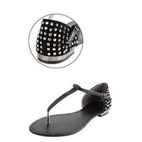 Bamboo Bloom55 Black Rhinestone Back T-Strap Sandals and Womens Fashion Clothing &amp; Shoes - Make Me Chic