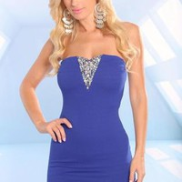 Blue Strapless Dress with Sweetheart Embellished Detail