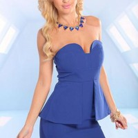 Blue Strapless Peplum Dress with Zipper Back